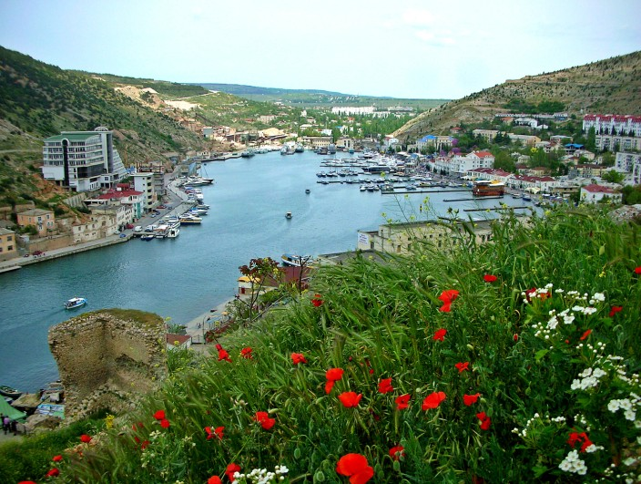 The town of Balaklava and its harbor