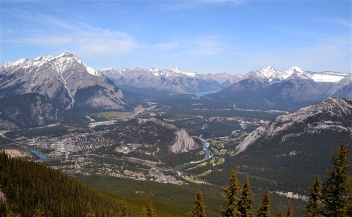 The town of Banff, left center, and surrounding terrain