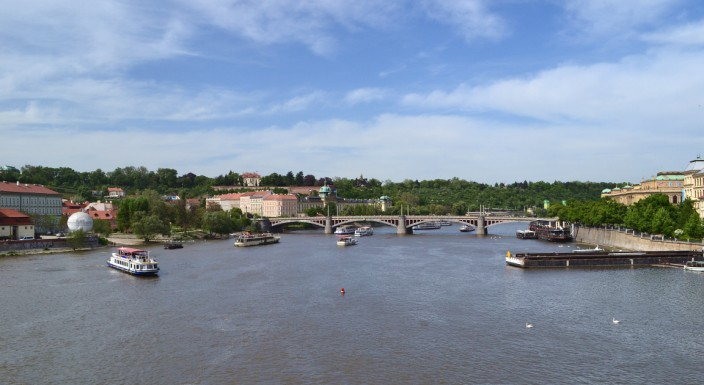 The view downriver from Charles Bridge