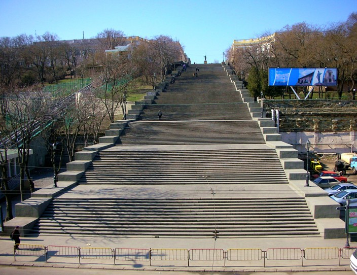 The world famous Potemkin Steps above Odessa harbor
