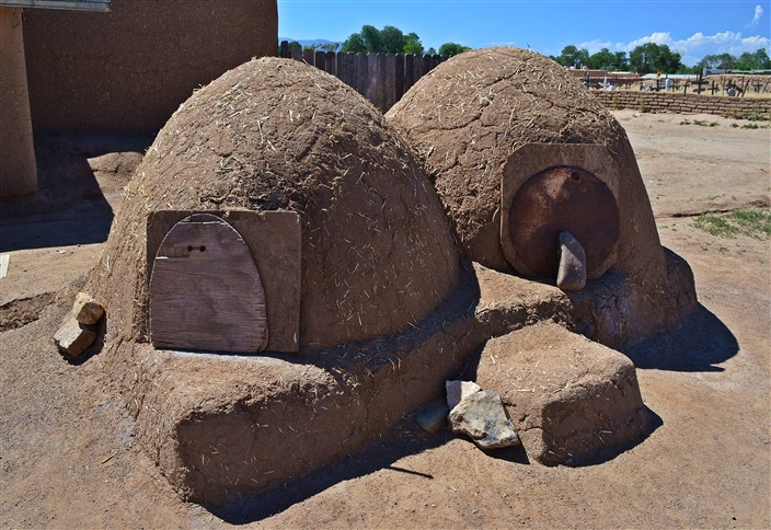 Traditional wood-fired earthen ovens