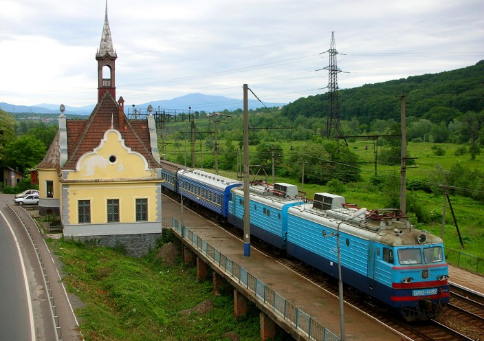 Train and station in Carpathian Mts