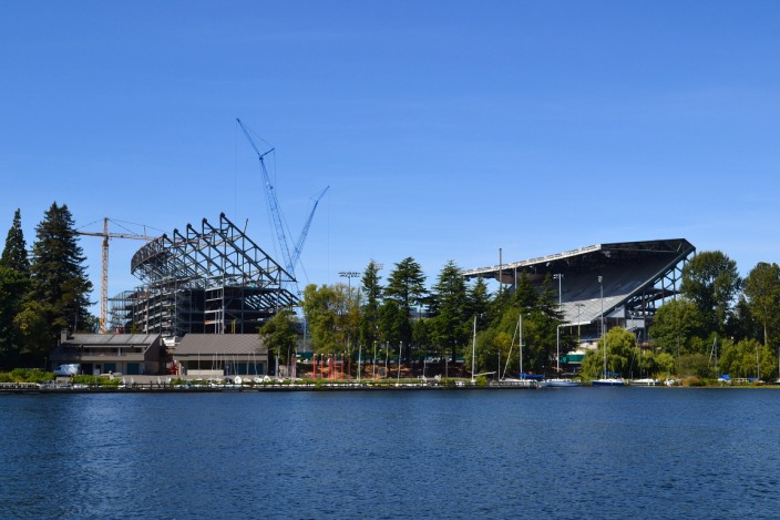 University of Washington football stadium under renovation