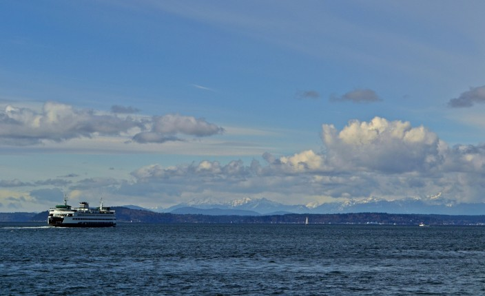 View from the Wheel, ferry and Olympic mountains to the west