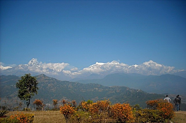 View of Himalayas to the north from park of World Peace Pagoda
