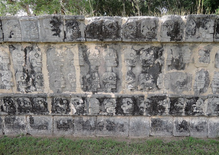 Wall of skulls. The Mayans stacked real skulls like this to frighten their enemies