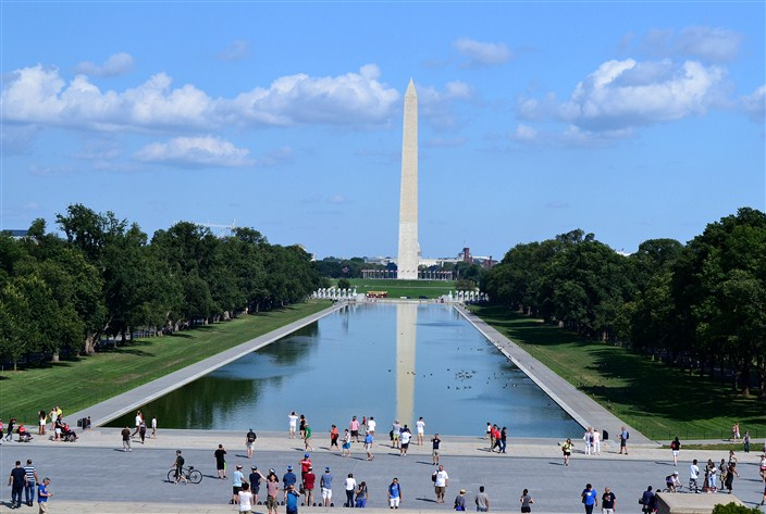 Washington Monument and reflecting pool as seen from the steps of Lincoln Monument