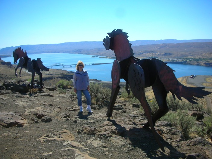 Wild horses above the Columbia River