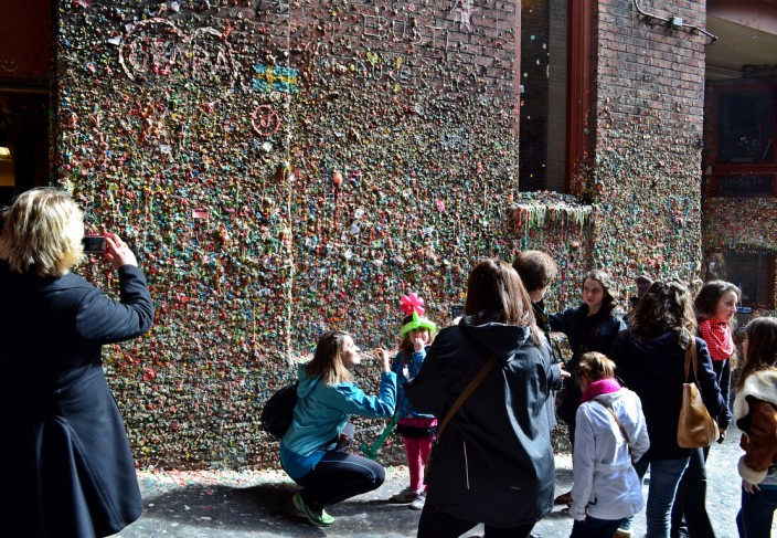 Yes, it's a lot of gum stuck to a wall