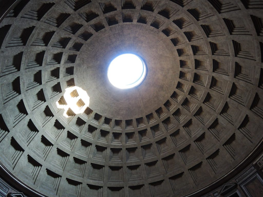 Inside the Pantheon, gazing up to the oculus, or portal, at the apex of the dome