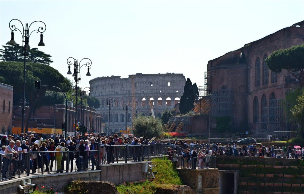 Walking to the Colosseum with a few thousand of our close friends